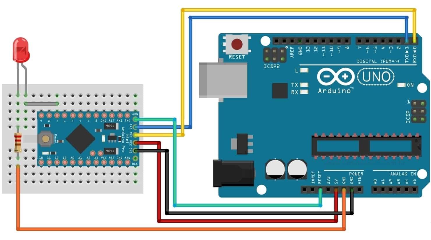 Arduino Mini - Circuito Programação