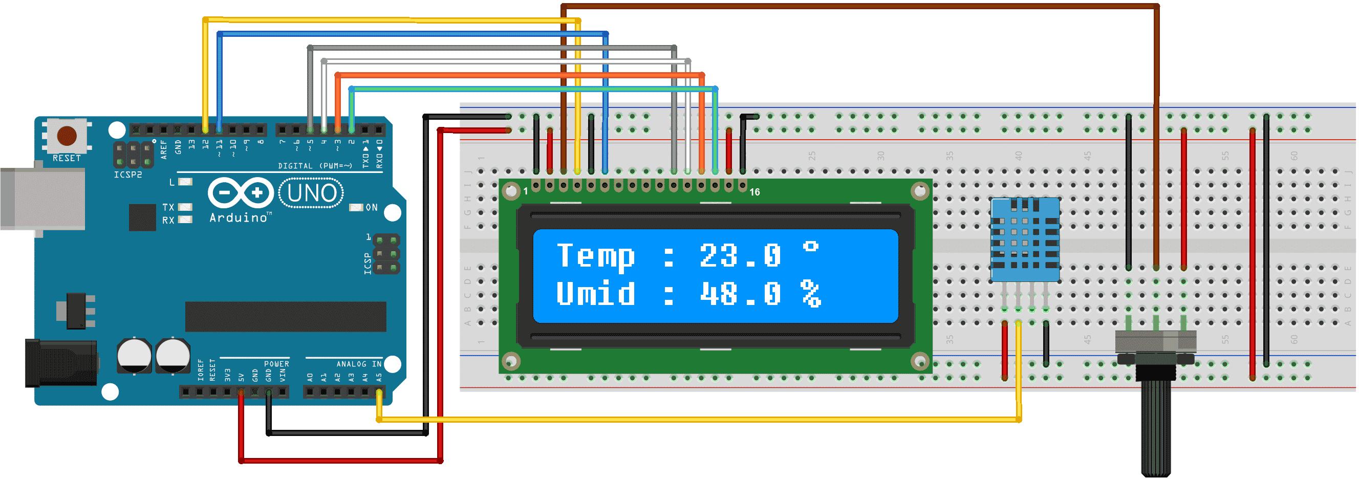 Circuito DHT11 e LCD HD44780