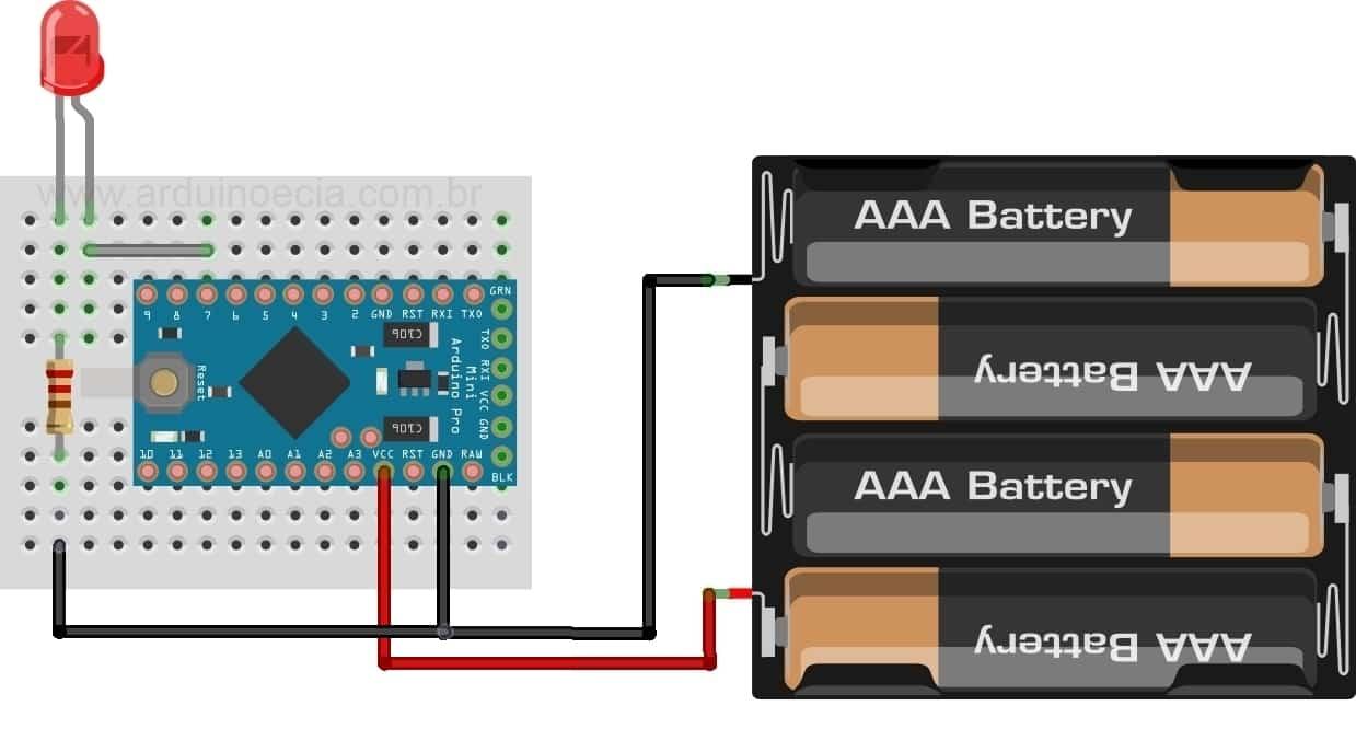 Arduino Mini - Circuito Bateria