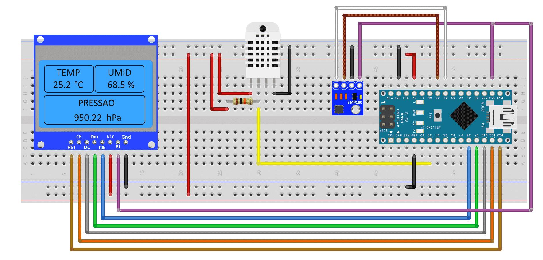 Circuito Estação Meteorológica - Arduino Nano
