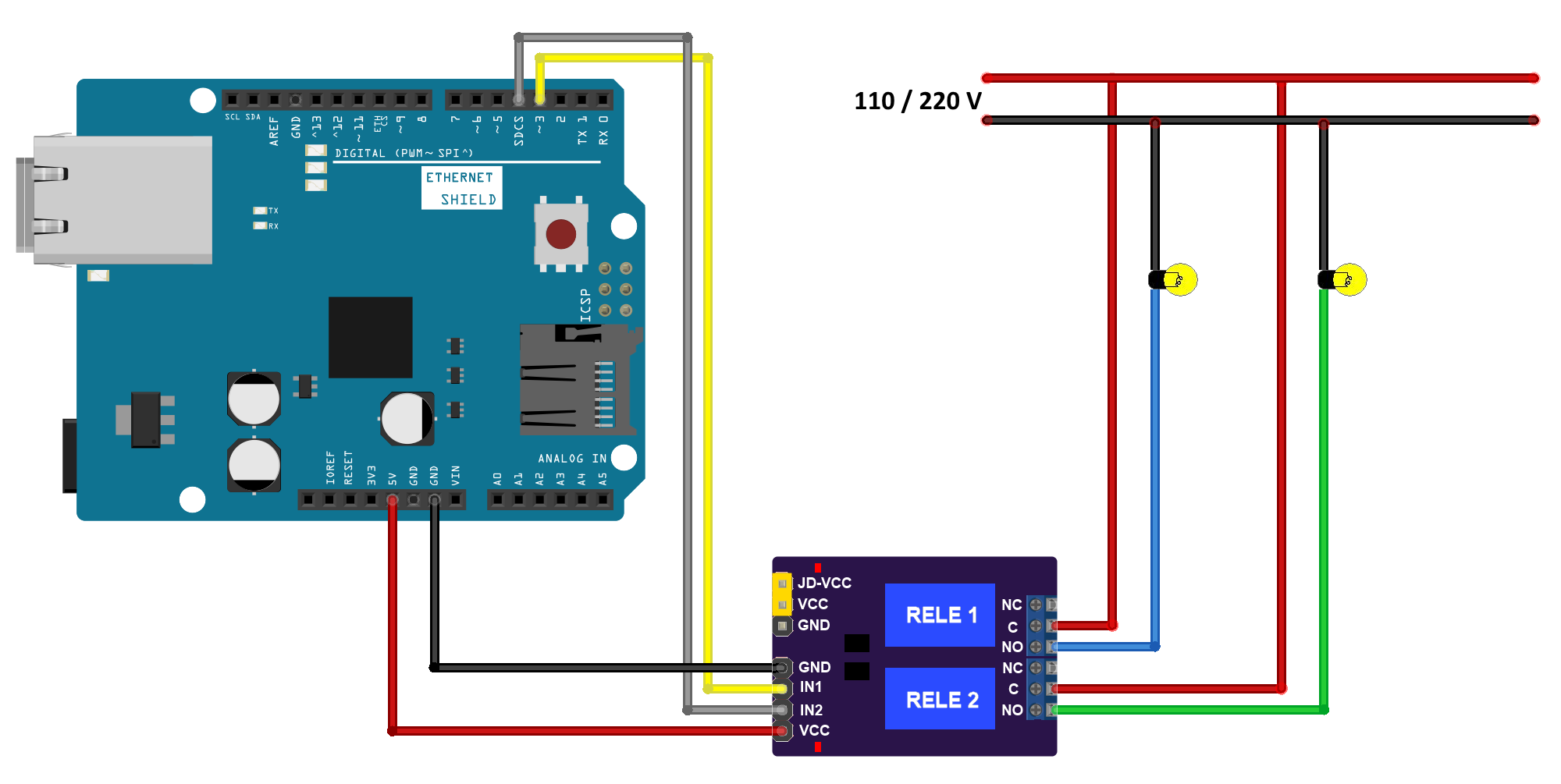 Circuito Arduino - Ethernet Shield - Lampadas