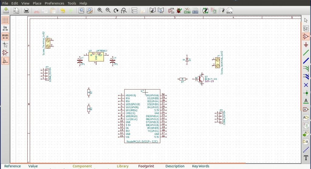 Componentes do circuito esquemático