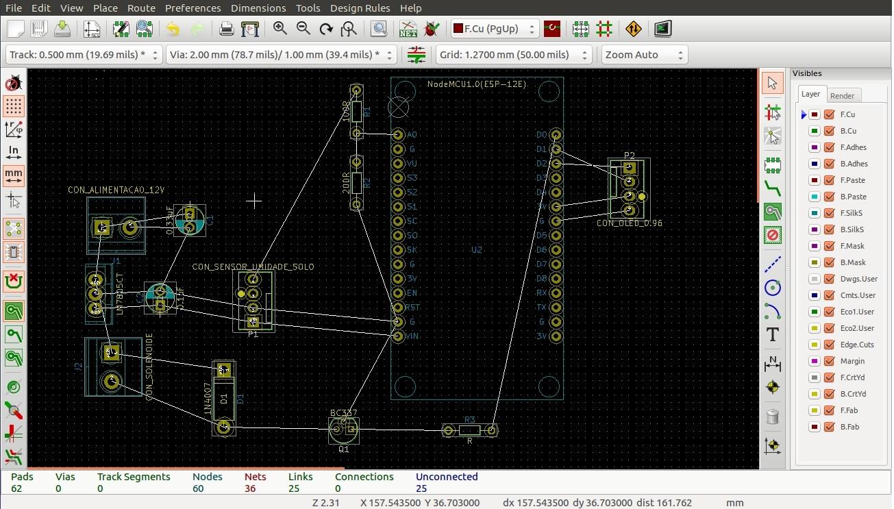 Sugestão de disposicao do circuito no Pcbnew